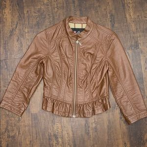 Guess brown faux leather jacket, ruffled hem